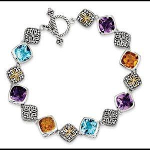 Jewelry - Two Tone Genuine Gem Antique Toggle Bracelet